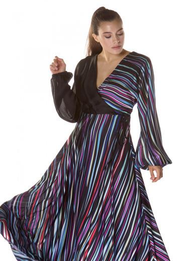 6ixty8ight Çizgili Uzun Kollu Abiye Elbise Siyah